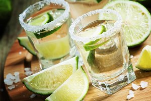 Silver Mexican tequila with lime and
