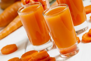 Fresh carrot cocktail glasses, selec