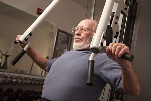 Senior Adult Man Working Out in the