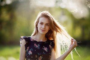Portrait of a pretty blonde posing