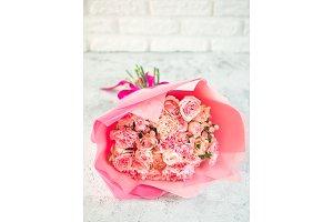 Close up pink bouquet, copy space