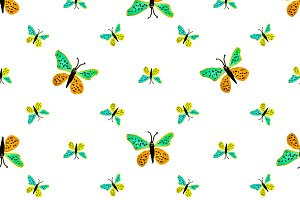 Children Style Butterfly Drawing Sea