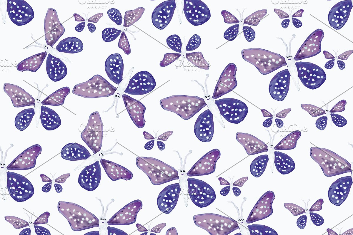 Save bright butterfly drawing seamless pa