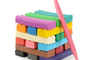 Colorful modelling clay isolated on