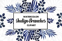 Indigo Branches Watercolor Set