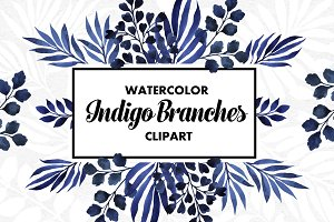 Indigo Branches Watercolor Set