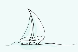 Continuous line drawing sailboat