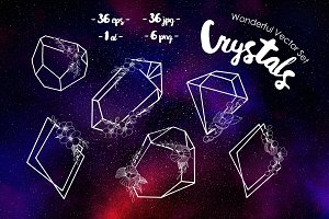 Crystals wonderful vector set