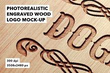 Engraved Wood Logo Badge Mockup