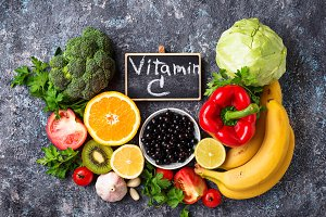 Foods rich in vitamin C. Healthy