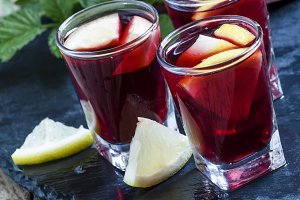 Red wine with lemon and orange, sele