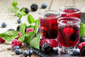Fresh berry drink with blueberries,