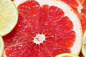 Sliced grapefruit, lemon, lime, food