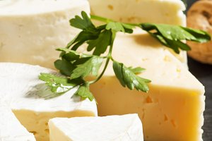 Assorted different kinds of cheese,