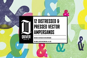 12 Distressed Vector Ampersands