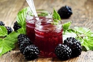 Two jars of blackberry jam, fresh be