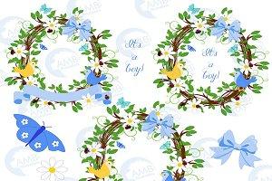 Boy Floral Frames Clipart, AMB-1400