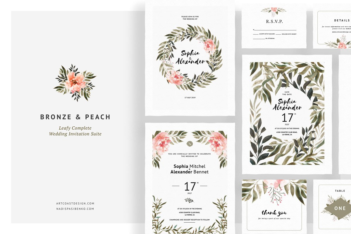 Bronze Peach Wedding Invitations