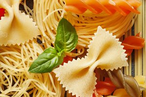 Assorted Pasta, selective focus