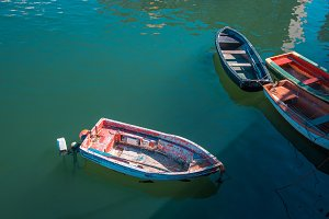 small fishing boats in the sea