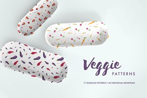 Watercolor Veggie Patterns