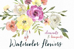 Watercolor Flowers Bouquets PNG