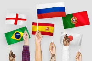 Hands waving flag of world cup teams