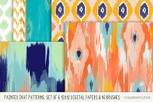 Painted Ikat Papers, Brushes- Stamps