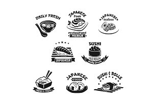 Vector icons for sushi restaurant