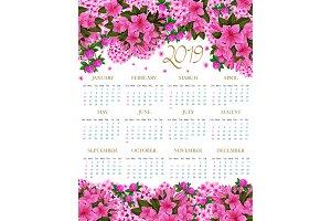 2019 calendar of spring pink flowers