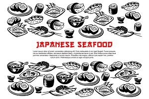 Seafood poster of rolls and sushi