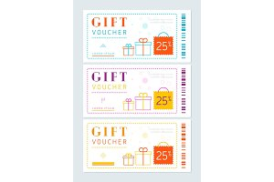 Set of vouchers with gift boxes