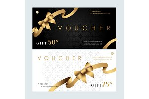 Vouchers with golden ribbon