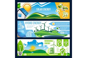 Solar, wind and hydro energy banner