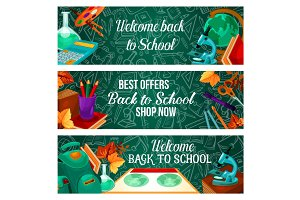 Back to School stationery banners