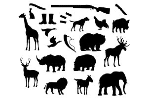Vector animals silhouette icons