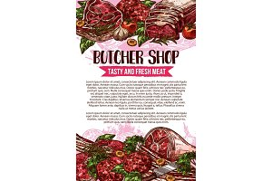 Butcher shop sketch meat poster