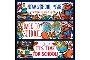 Back to School vector banners