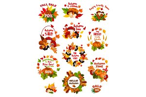 Autumn sale label set of fall