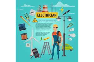 Vector electircian profession man