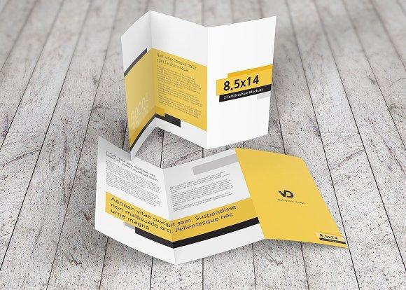 8 5 x 14 z fold brochure mockups product mockups creative market