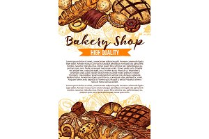 Vector sketch bread for bakery shop