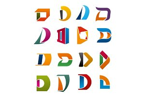 Letter D vector icons