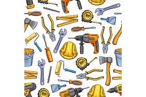 Work tools repair seamless pattern