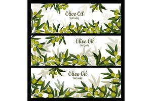 Olive oil vector banners