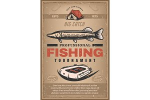 Vector poster for fishing tournament