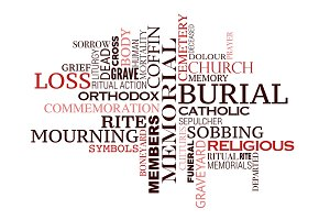 Funeral or burial word cloud
