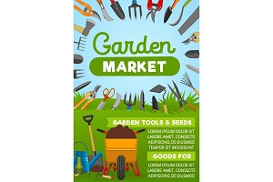 Gardening tool banner with equipment