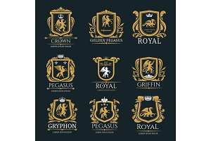 Heraldic royal animals vector icons