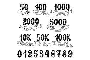Followers quantity numbers lettering